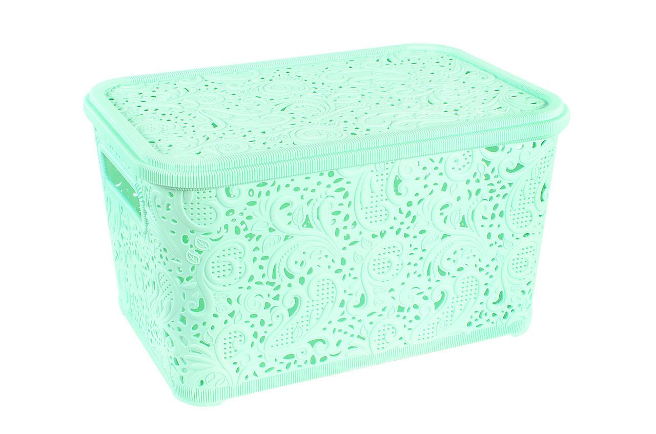 Корзина для хранения Elif Plastik Ажур 44х23х33 см мятная