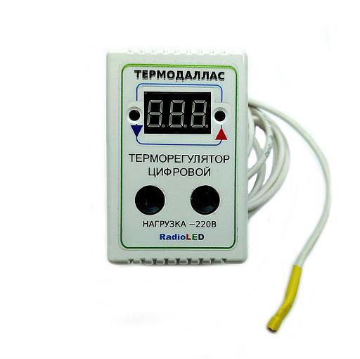 Терморегулятор цифровой AC220V Термодаллас -55*С +120С; шаг 0.1*С) в розеточном корпусе M149