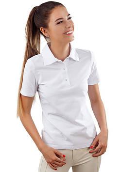 Белая футболка-поло женская (размеры S-2XL)