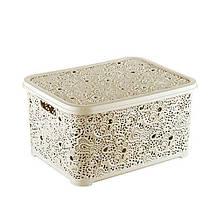 Корзина для хранения Elif Plastik Ажур 44х23х33 см светло оливковая