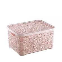 Корзина для хранения Elif Plastik Ажур 21х29х12.5 см розовая пудра