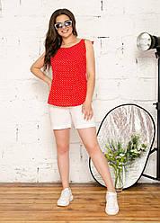Женский костюм Майка красная в горошек и шорты, размеры: 48-62