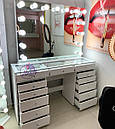 """Гримерный стол для визажиста с витриной на столешнице """" Кристалл 5"""", цвет - белый, фото 3"""