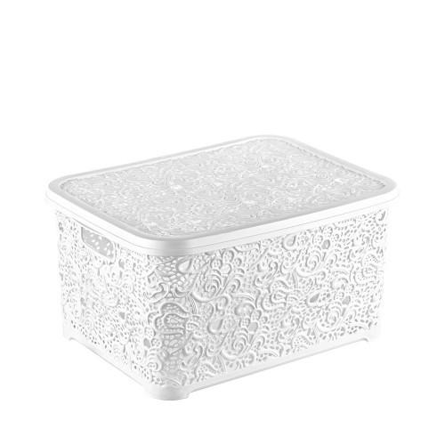 Корзина для хранения Elif Plastik Ажур 21х29х12.5 см белая