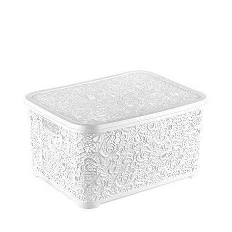 Корзина для хранения Elif Plastik Ажур 21х29х12.5 см белая, фото 2
