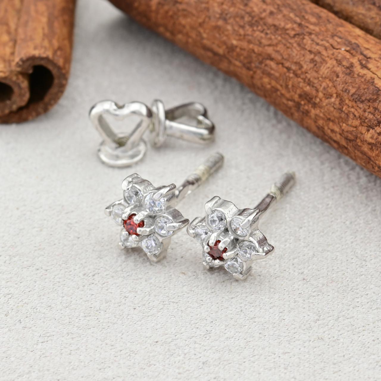 Серебряные серьги гвоздики П2120р размер 7х7 мм вставка красные фианиты вес 1.7 г