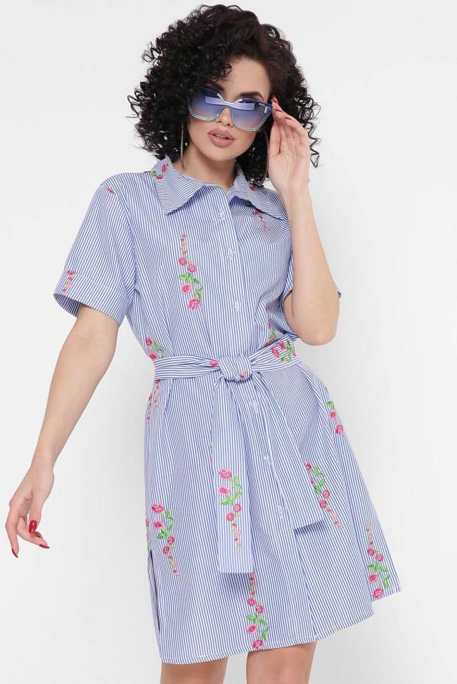 """Летнее синее короткое платье-рубашка в полоску и цветочек """"Sophie"""""""