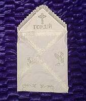 Лляна крижма з капюшоном для хрещення дитини. Біла., фото 1