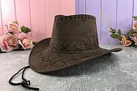 Ковбойская шляпа замшевая  H21-2-1, Н16-8, H21-2-2  - только ЧЕРНЫЙ