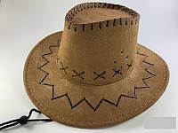 Шляпа ковбоя замшевая детская, светло-коричневая, фото 1