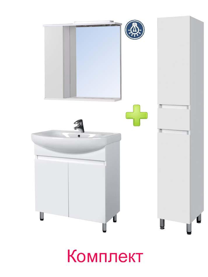 Комплект мебели Мойдодыр - Тумба Фокус 70 с Зеркальным шкафом СТ-70 и Пеналом П-28