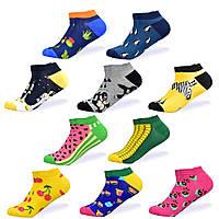 Набор низких носков, 10 пар, размер 39-46, яркие, happy socks, с рисунком, мужские/женские - унисекс