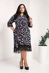 Жіноче літнє плаття-сорочка розмір 50-54 палітра принтів