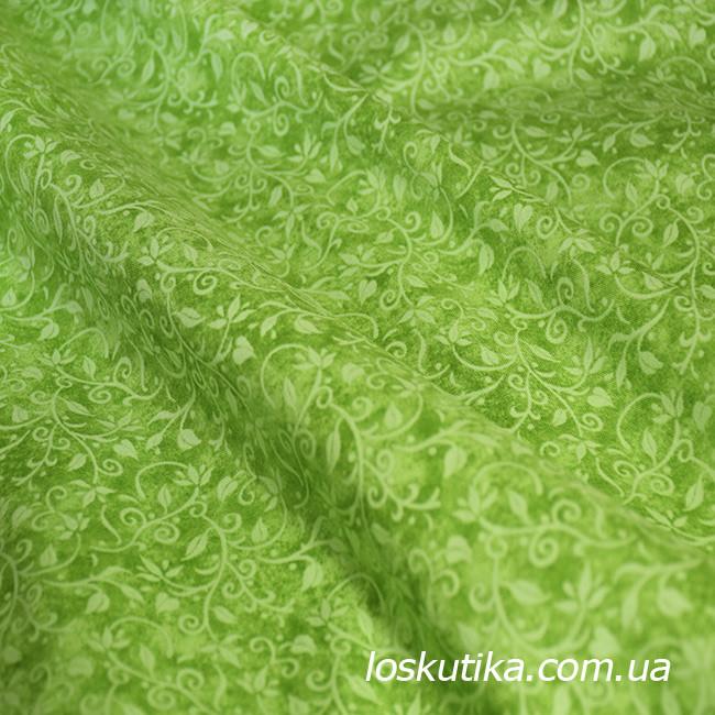 56003 Мотив растительный (зеленый). Ткань для пэчворка и рукоделия. Хлопок США.