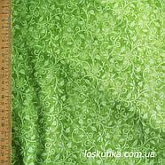 56003 Мотив растительный (зеленый). Ткань для пэчворка и рукоделия. Хлопок США., фото 3