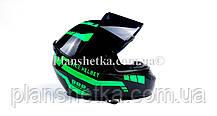 Шлем для мотоциклов Hel-Met 111 зеленый черный ( тонированное стекло), фото 3