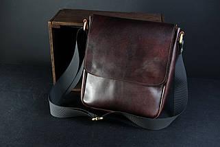 """Чоловіча сумка """"Модель №85"""" Шкіра Італійський краст колір Вишня, фото 2"""