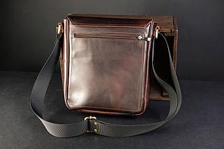 """Чоловіча сумка """"Модель №85"""" Шкіра Італійський краст колір Вишня, фото 3"""