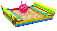 Песочница для детей деревянная с лавочками Just Fun 150х154 K (Пісочниця для дітей дерев'яна з лавочками)