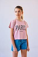 Стильная футболка на  девочек 8-12 лет с надписей Paris из трикотажа
