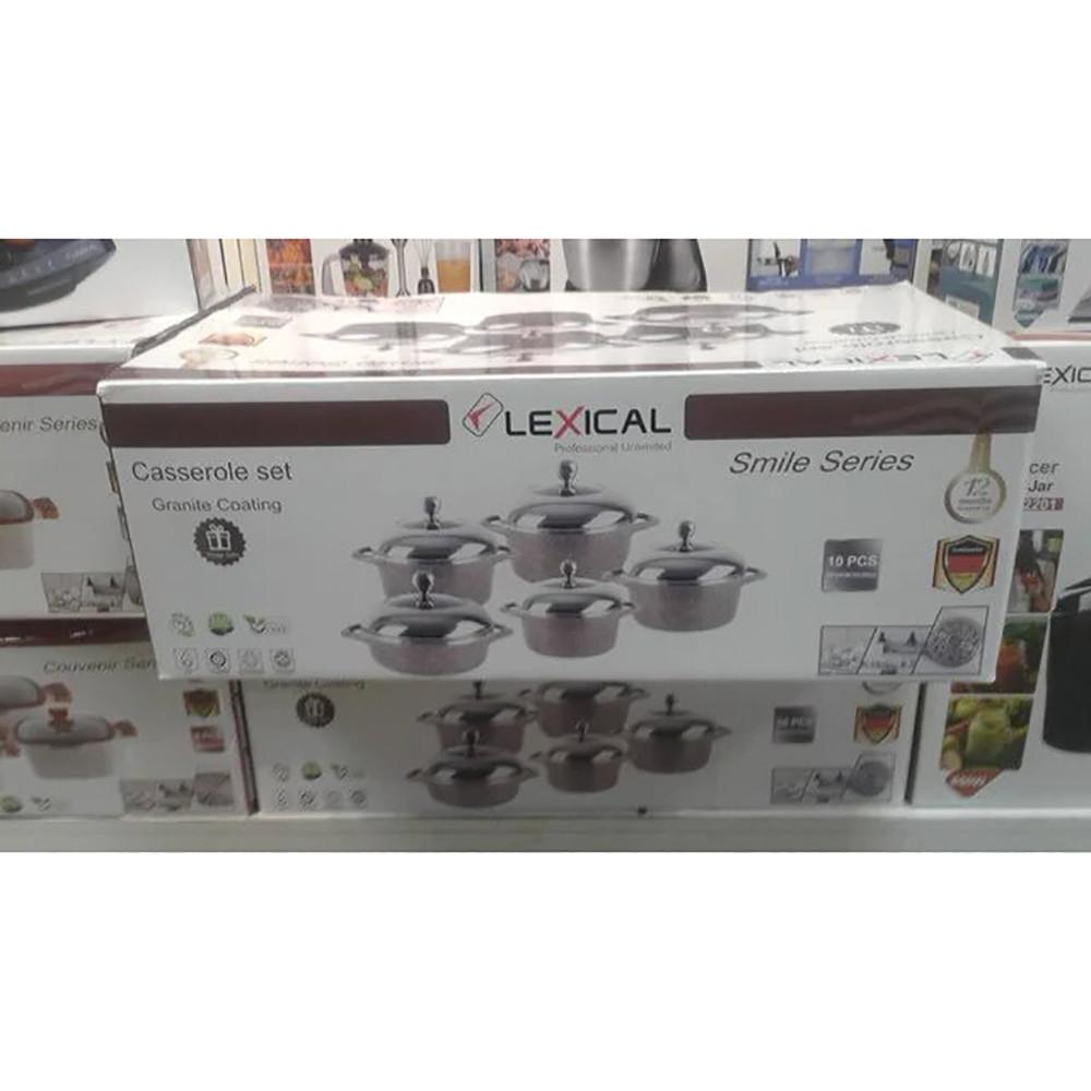 Набор кастрюль из 10 предметов с гранитное покрытие Lexical LG-141001-5 + ПОДАРОК: Настенный Фонарик с
