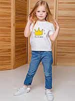 Детская белая футболка полуприлегающего силуэта, с надписью: Princess.