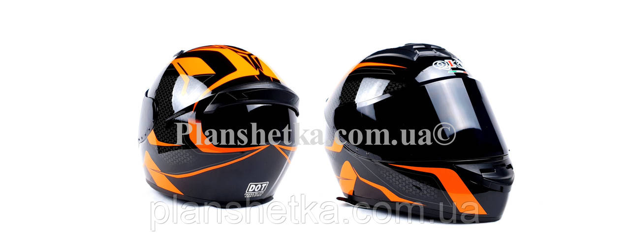 Шлем для мотоциклов Hel-Met 111 оранжевый черный ( тонированное стекло)