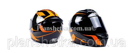 Шлем для мотоциклов Hel-Met 111 оранжевый черный ( тонированное стекло), фото 2