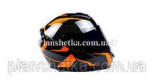 Шлем для мотоциклов Hel-Met 111 оранжевый черный ( тонированное стекло), фото 3
