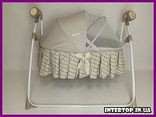 Детская люлька кроватка и укачивающий центр для новорожденных 2 в 1 Carrello CRL-7501 Arrow Beige бежевый