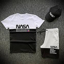 Мужской комплект футболка шорты Nasa