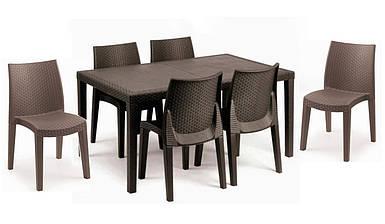 Комплект садовый стол Prince+6 кресел Lady коричневый