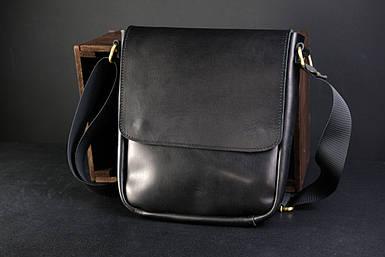 """Чоловіча сумка """"Модель №85"""" Шкіра Італійський краст колір Чорний"""