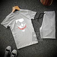 Мужской комплект летний JOKER    футболка   шорты. Цвет: верх серый низ черный, серый.