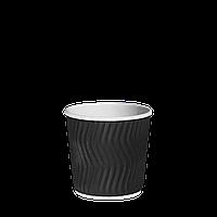 Одноразовий стакан гофрований Чорний 110мл. 30шт/рук; 48рук/ящ; 1440шт/ящ, фото 1