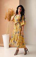 Красивое летнее платье с рюшами размеры 42,44,46,48