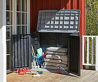 Ящик садовый из пластика для уличного хранения 132х74х110см черный
