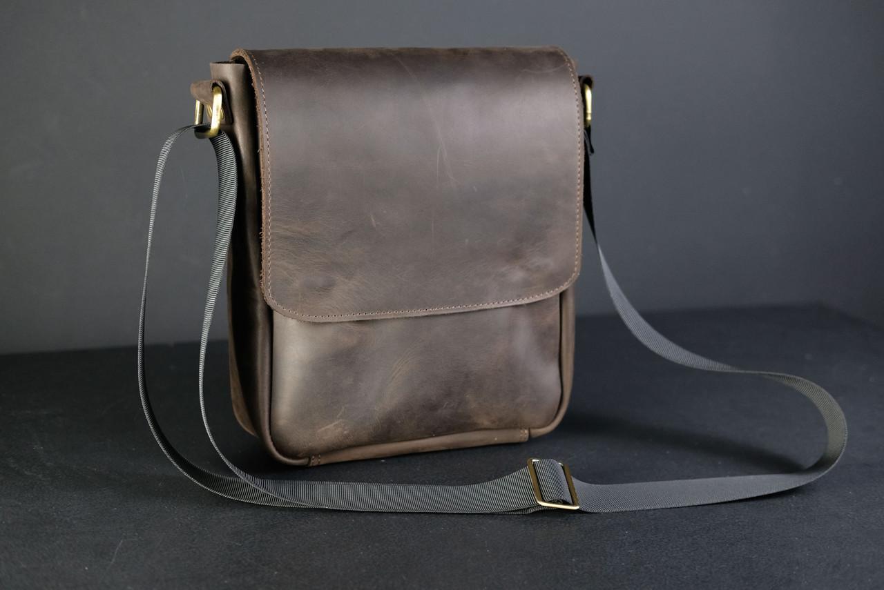 """Чоловіча сумка """"Модель №85"""" Вінтажна шкіра колір Шоколад"""
