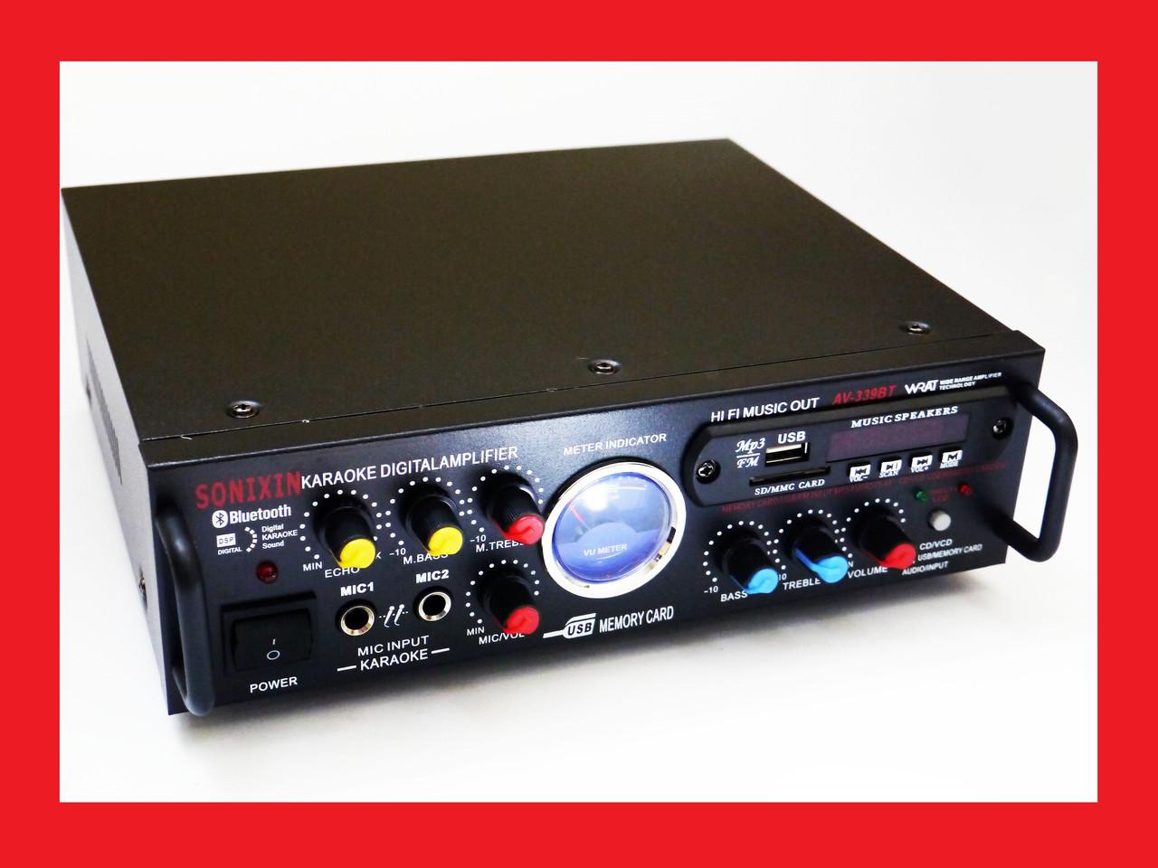 Підсилювач звуку Sonixin AV-339BT + USB + Fm + Mp3 + КАРАОКЕ + Bluetooth