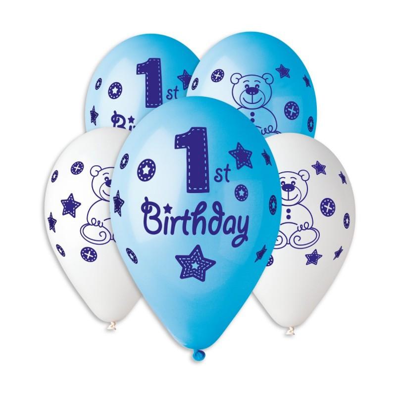 """Латексные шары круглые с рисунком 1 Birtday Бело-Голубой 12""""30см"""