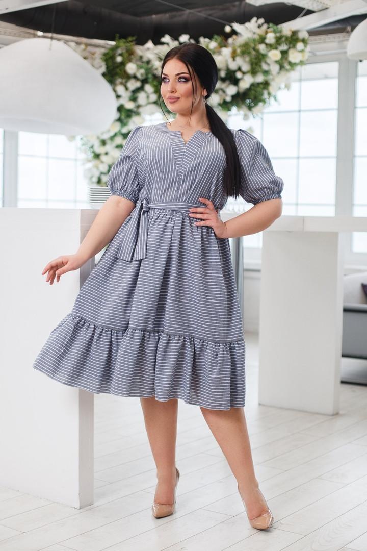 Женское льняное платье свободного кроя под пояс с воланом  50-52, 54-56