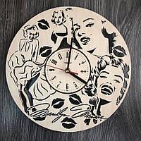 Оригинальные круглые бесшумные настенные часы 7Arts Мэрилин Монро CL-0306, КОД: 1474448