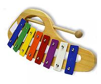 Детский деревянный музыкальный инструмент Ксилофон-металлофон (8 тонов металл) Bino