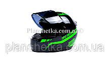 Шлем для мотоциклов Hel-Met 902 закрытый зеленый черный ( тонированое стекло), фото 3