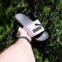 Мужские летние тапки Puma чёрные с белым