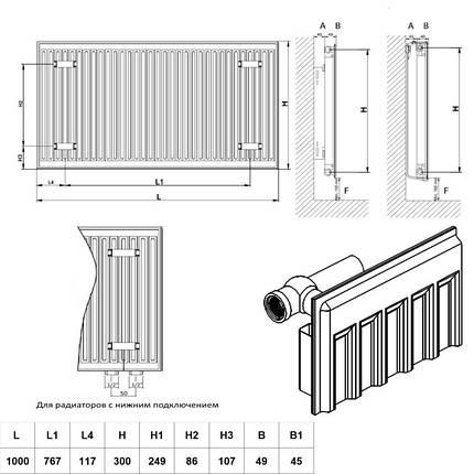 Радиатор стальной Daylux класс 11 300Hх1000L боковое подключение, фото 2