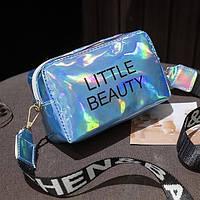 Женская голографическая сумка через плечо LITTLE BEAUTY синяя голубая