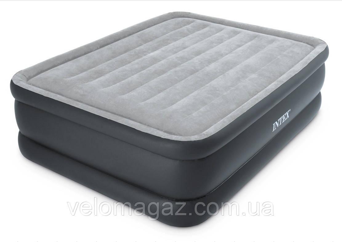 Велюрова ліжко-матрац INTEX 64140-7Т з вбудованим ел.насосом,152*203*51 см