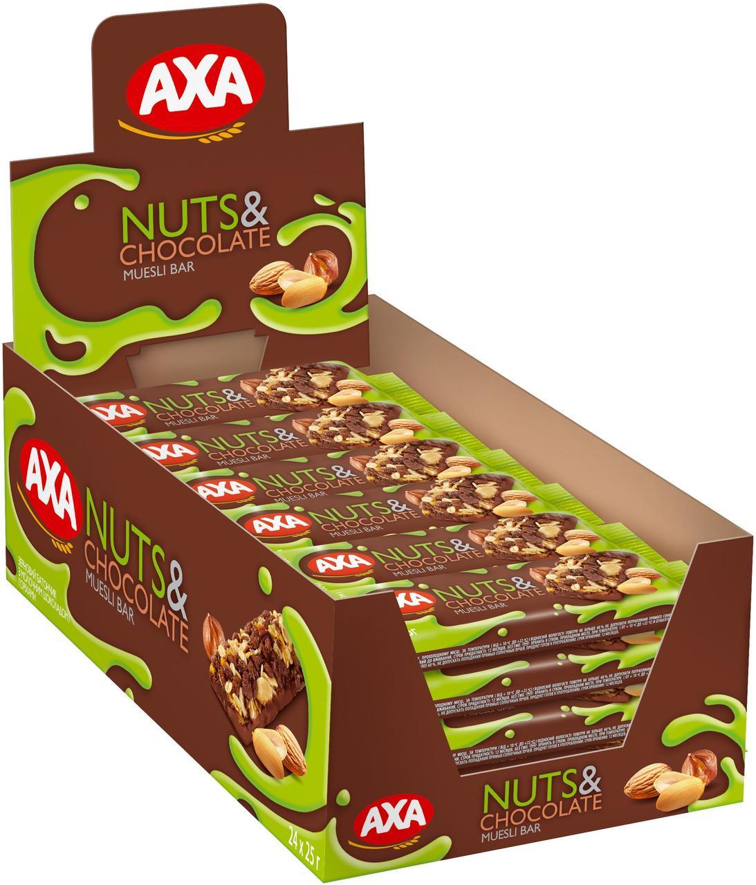 Зерновий батончик з молочним шоколадом і горіхами 25г | 24шт АХА