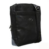 Мужская кожаная сумка планшетка черного цвета Tony Perotti